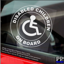 1 x Disabled Children On Board-Round-Window Sticker-Sign,Car,Warning,Notice,Logo